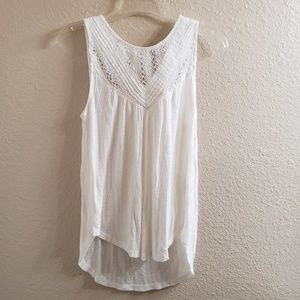 NWT Lucky Brand White Boho Cotton Tank with Button
